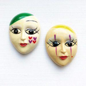 Set Of 2 Vintage Mime Face Magnets